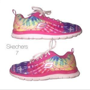 Skechers Rainbow Tie Dye Foam Tennis Shoes 7